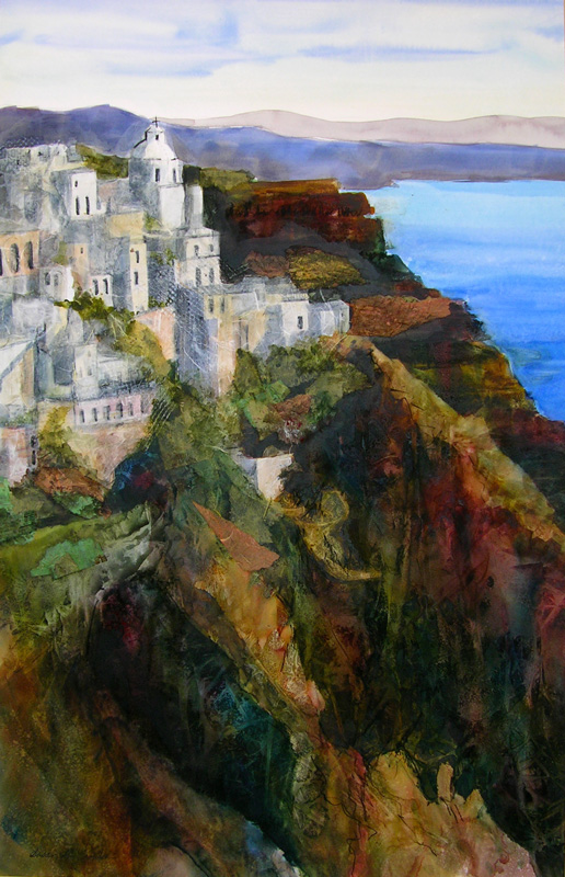 "Santorini Hillside (Mixed Media, 28"" x 36"" matted or framed) $1,599/$1,899"