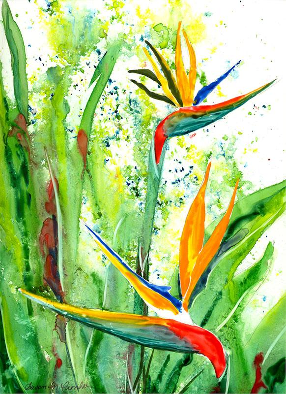 "Bird of Paradise, matted 12"" x 14"" for $59 or 14"" x 18"" for $69"