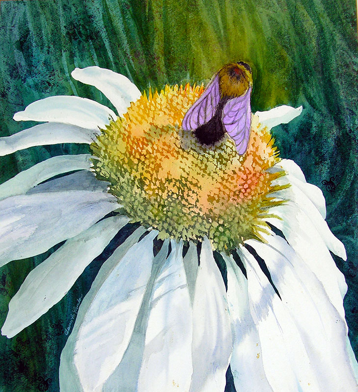 "Bumble Bee at Work (Watercolor, 30"" x 32"" matted) $549"