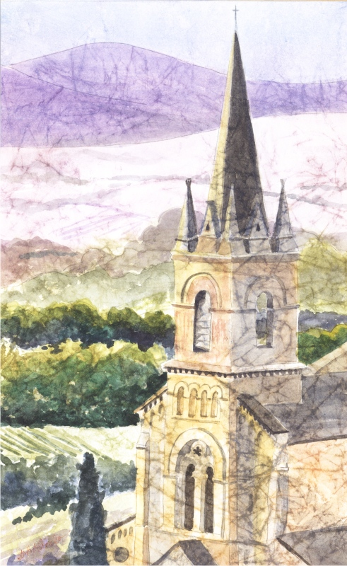 "The New Church, Bonnuiex, FR (Watercolor, 14"" x 20"" matted or framed) $299/$349"