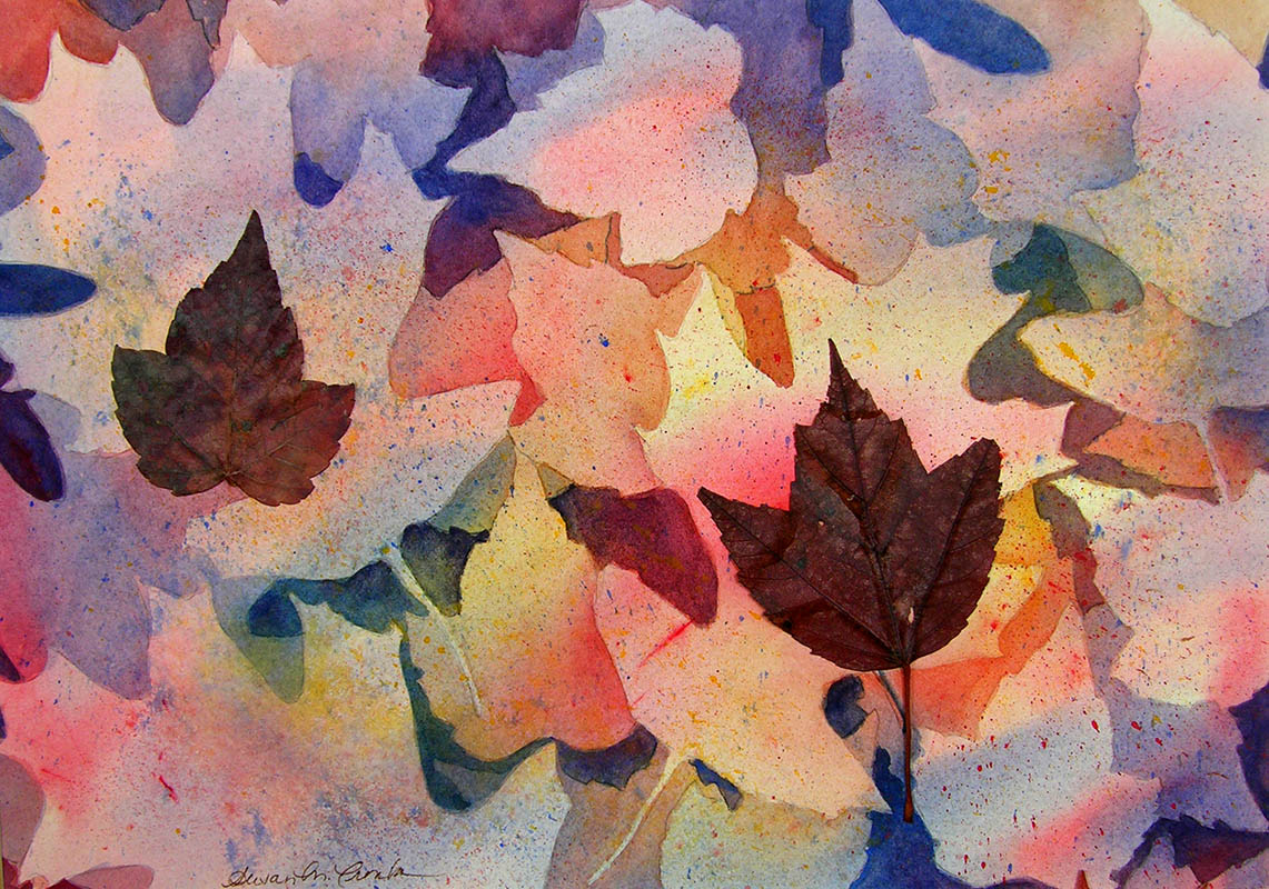 "Autumn Leaves (Watercolor, 16"" x 20"" framed) $199"
