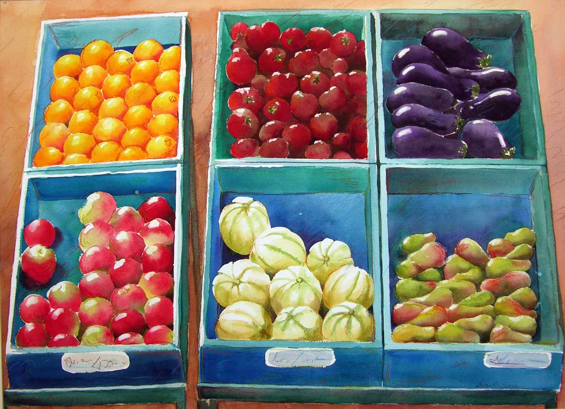 "Fruit Stand (Watercolor, 36"" x 28"" matted/framed) $899/$1,199"