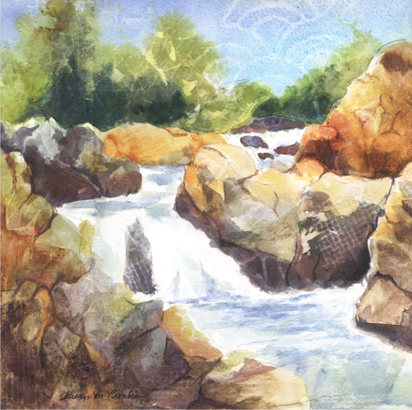 "Great Falls II (Mixed Media, 14"" x 14"" matted) $149"