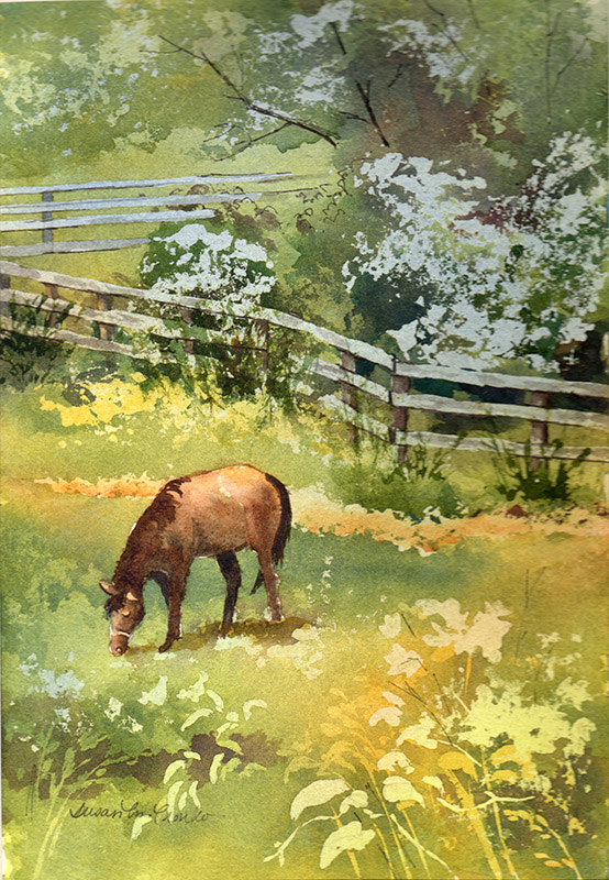 "Horse in Field (Watercolor, 11"" x 14"" matted or framed) $189/$239"