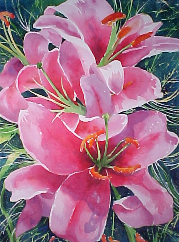 "Vibrant Lilies (Watercolor, 28"" x 36"" framed) $1,499"