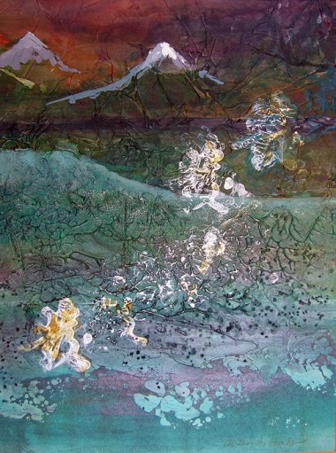 mixed media abstract of mountain scene