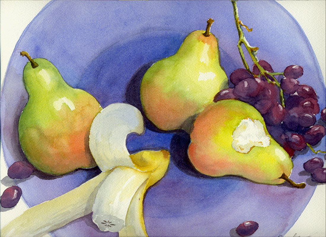 "Pears (Watercolor, 16"" x 12"") $149"
