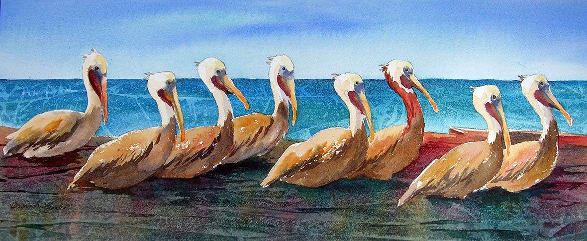 "Pelican Parade (Watercolor, 32"" x 16"" matted or framed) $799/$999"