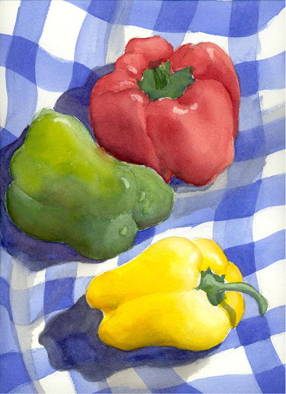 "Bell Peppers (Watercolor, 16"" x 20"" matted) $149"