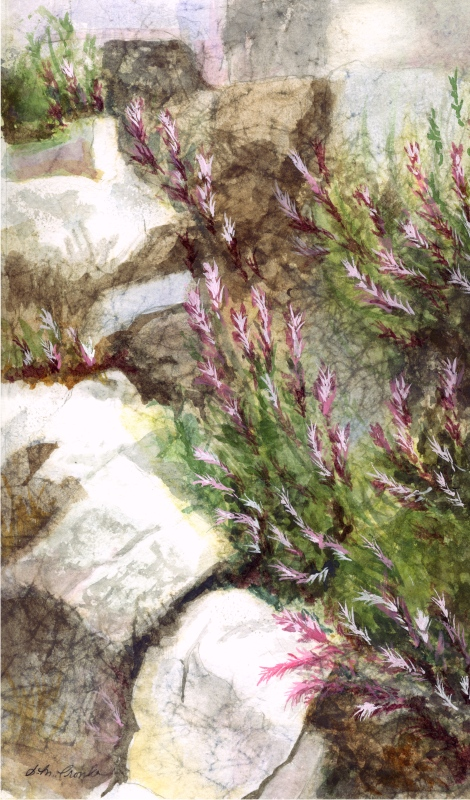 "Rocky Landscape (Watercolor, 12"" x 16"" matted) $89"