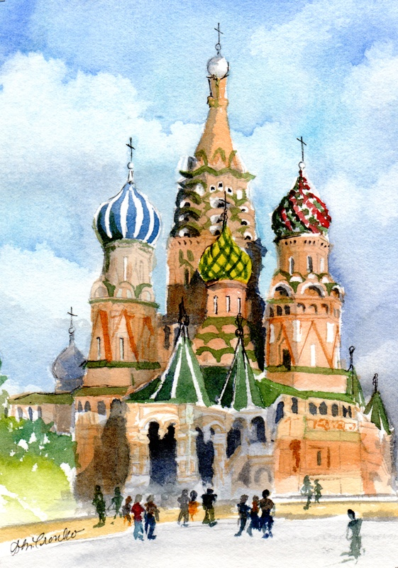 "St. Basils, Moscow, matted 8"" x 10"", $29"