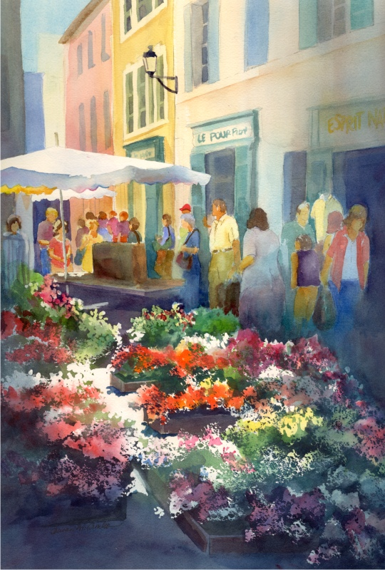 "Sunny French Market, matted 16"" x 22"", $79"