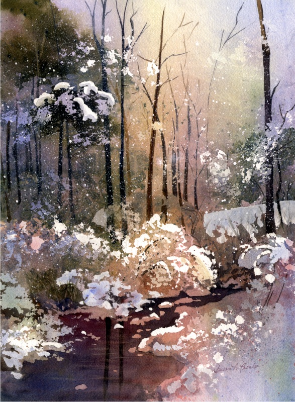 "Wintery Scene (Watercolor, 16"" x 20"" matted or framed) $349/$399"