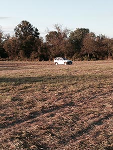 My car out in a field