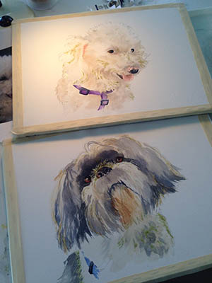 Dog paintings in process