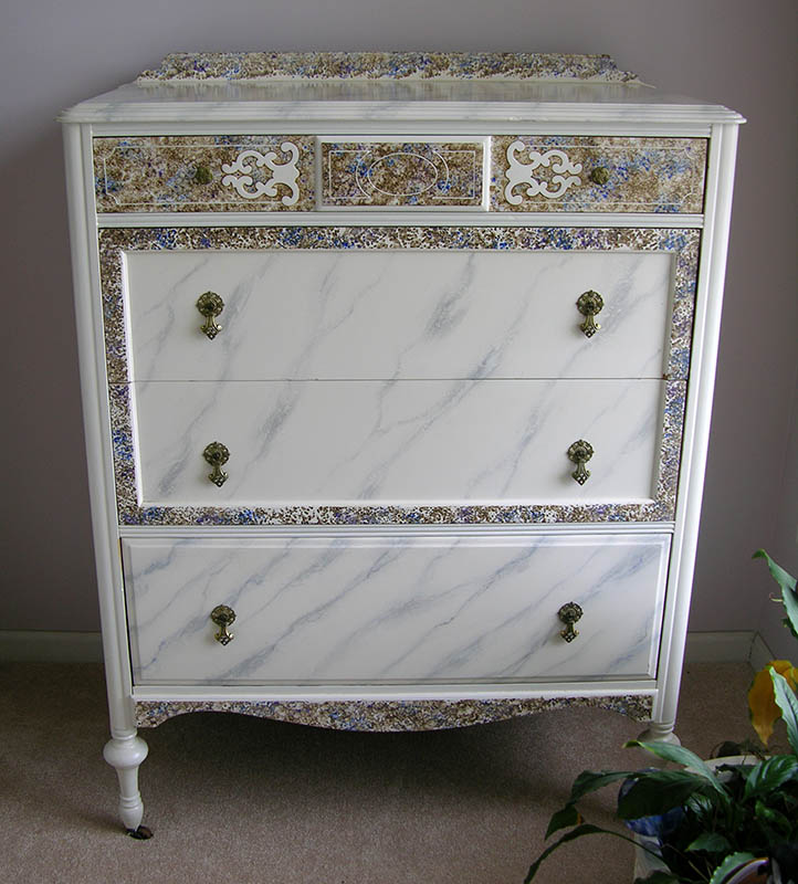 Marble & Fossil stone faux finished antique dresser