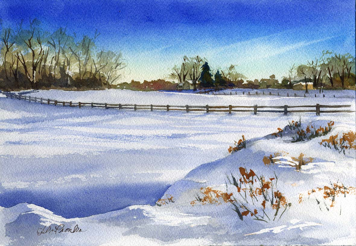 "Country Snow, matted 14"" x 11"", $75"