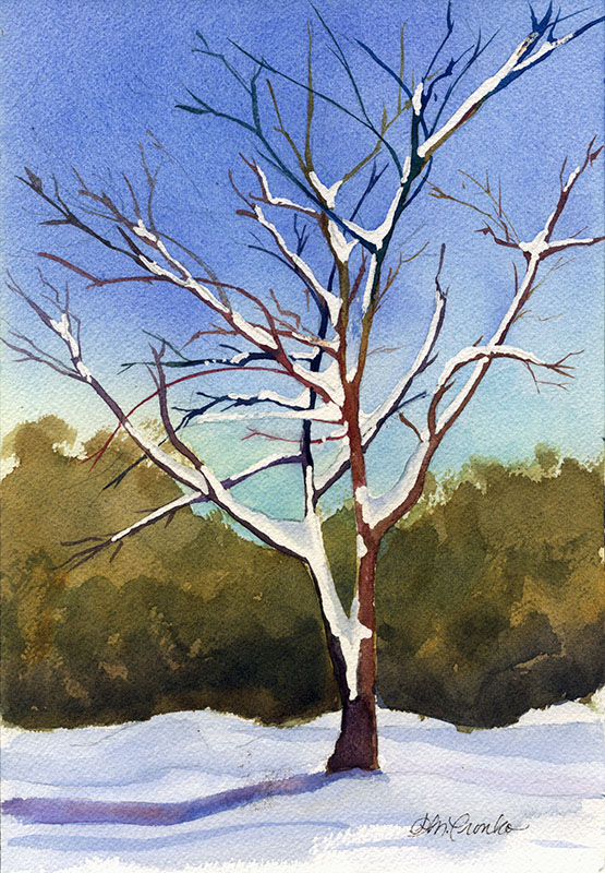 "Snow Tree (Watercolor 11"" x 14"" matted) $95"