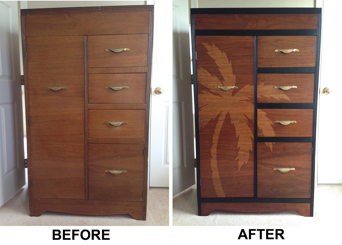 Faux Painting Furniture - Tall art deco dresser