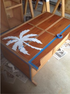 Low dresser with stencil